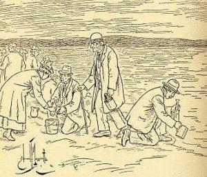 Gravure de la récolte de l'eau de Pâques.