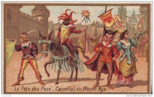Illustration fête des fous - Carnaval, moyen âge